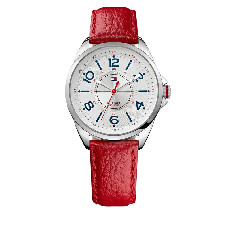 Tommy Hilfiger Ladies Red Leather Strap Watch w Round White Dial