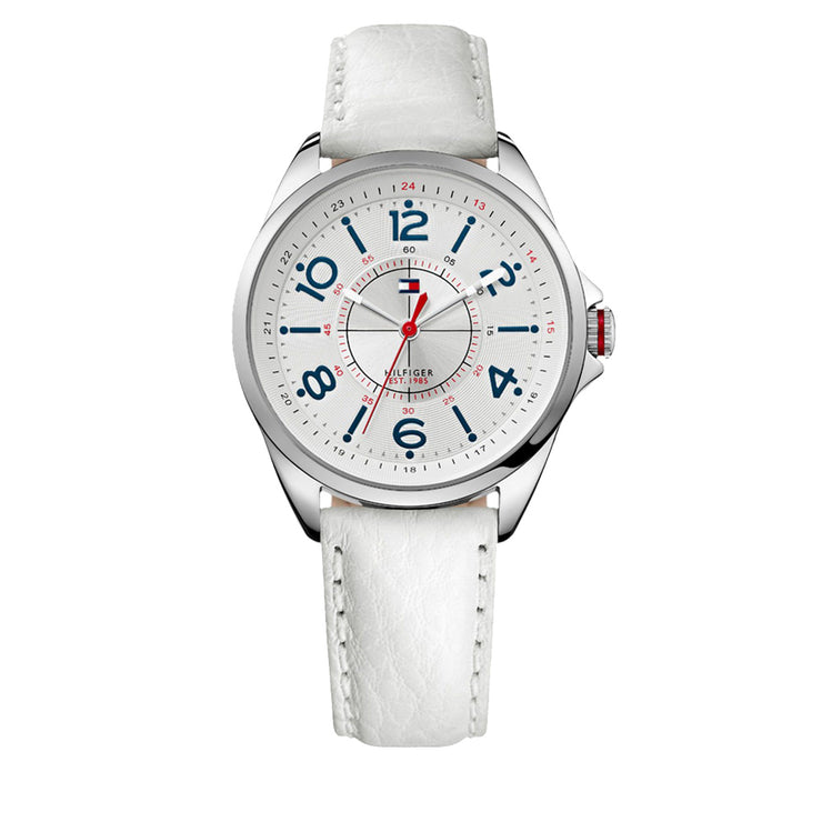 Tommy Hilfiger Ladies White Leather Strap Watch w Contrasting Blue Indices