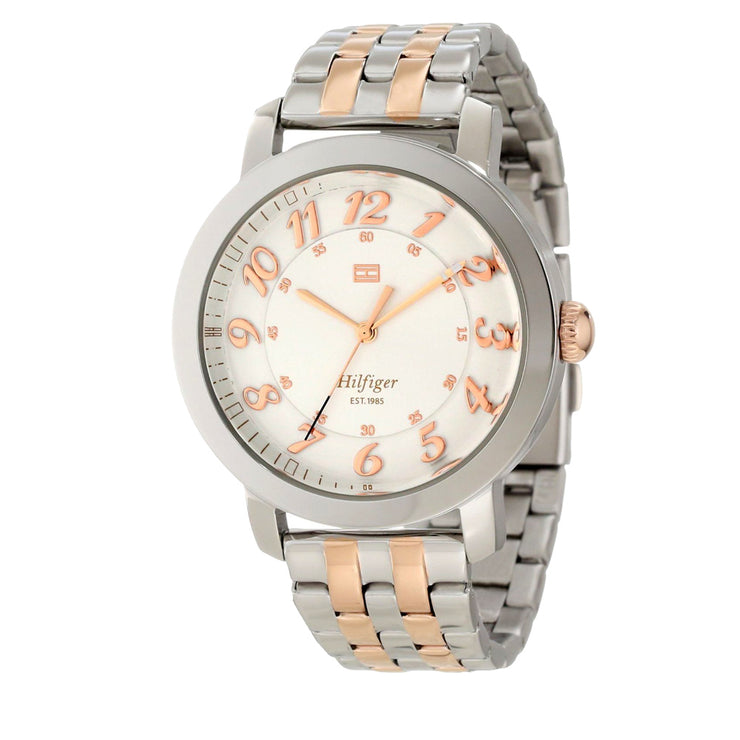 Tommy Hilfiger Ladies Two-Tone Stainless Steel Watch Watch w Round White Dial