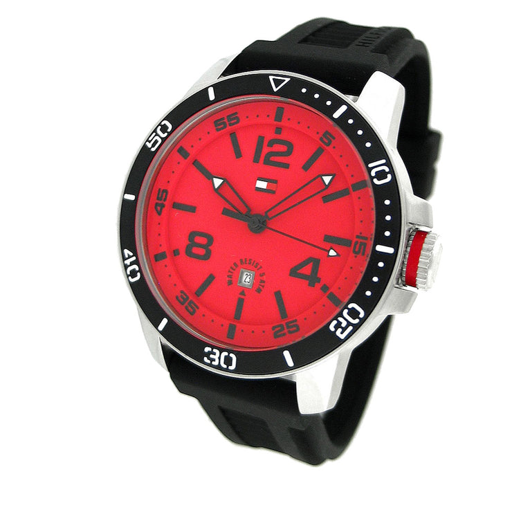 Tommy Hilfiger Men's Black Silicon Watch w Red Round Dial