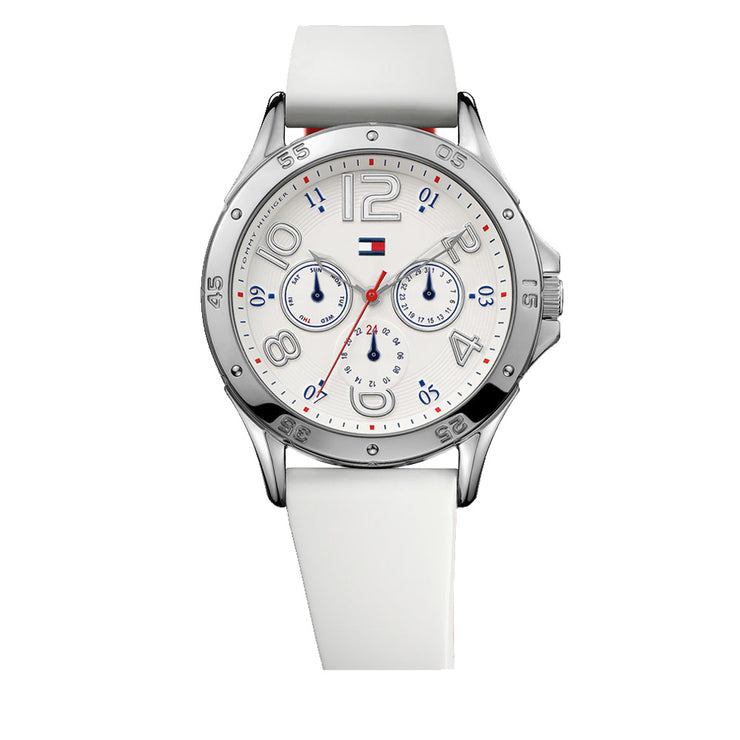 Tommy Hilfiger Ladies White Silicone Strap Round Dial Watch with Red Accent