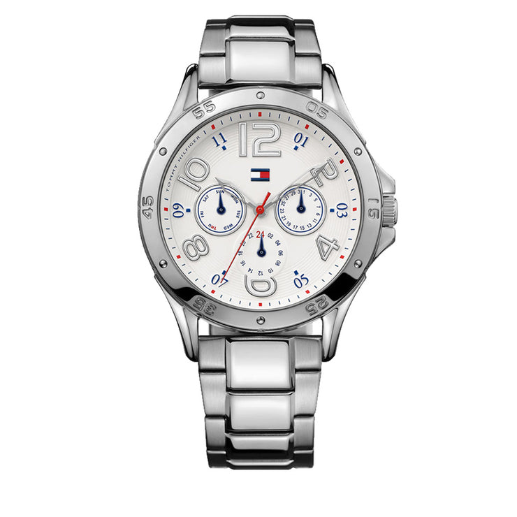 Tommy Hilfiger Ladies Stainless Steel Watch w Round White Dial & Blue-Red Accent
