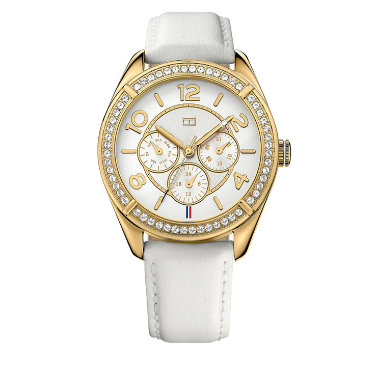 Tommy Hilfiger Ladies White Leather Watch with Gold Round Crystal Bezel