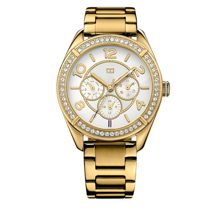Tommy Hilfiger Ladies Gold Stainless Steel Round Watch w Multi Dial