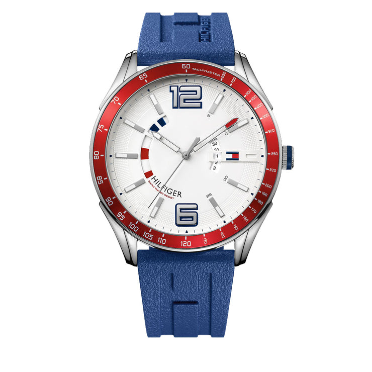 Tommy Hilfiger Watch 1790800- Blue Silicon with Round White Dial & Red Accents Men Watch