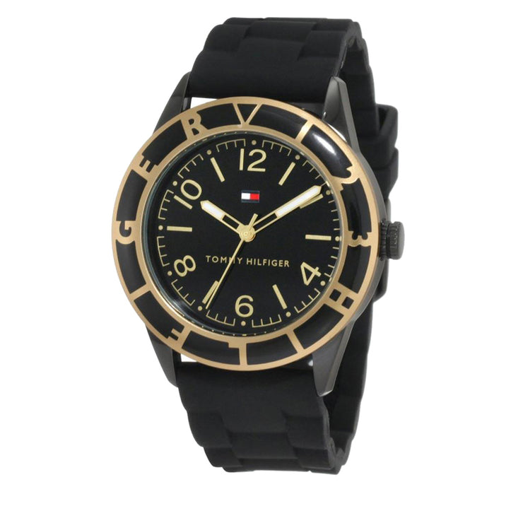 Tommy Hilfiger Ladies Black & Gold Silicone Strap Watch w Hilfiger Bezel