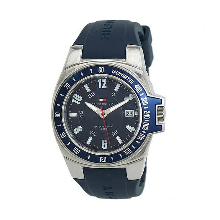 Tommy Hilfiger Mens' Blue Silicone Watch w Blue Round Dial
