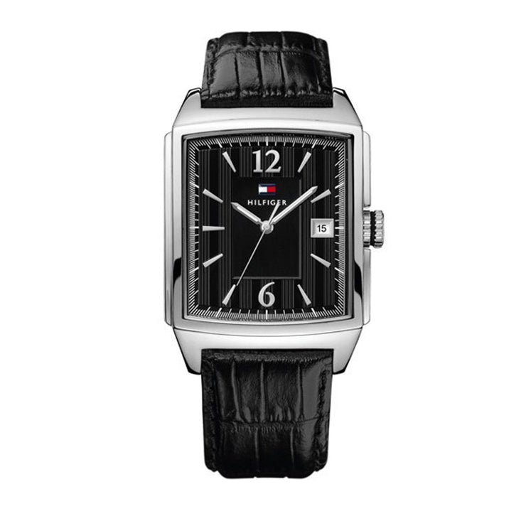 Tommy Hilfiger Men's Black Leather Watch w Rectangular Black Dial