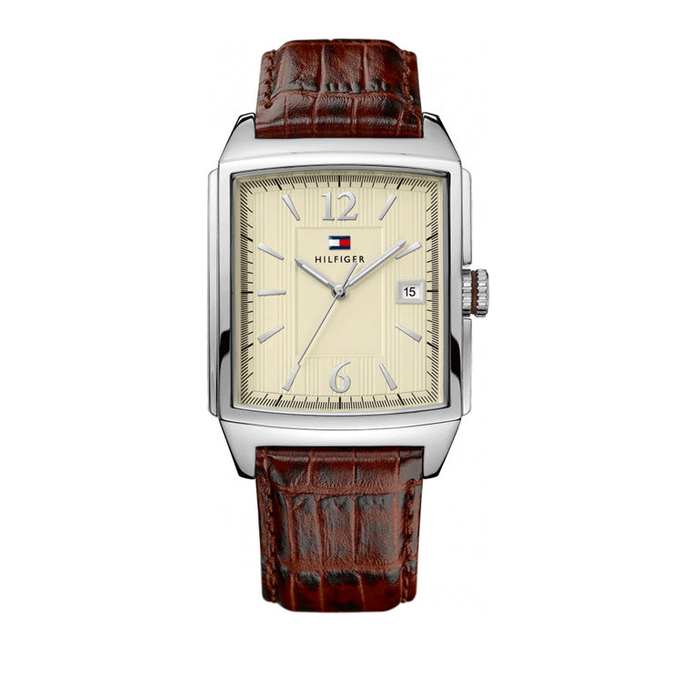 Tommy Hilfiger Men's Brown Leather Watch w Rectangular Beige Dial