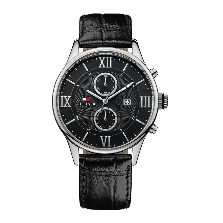 Tommy Hilfiger Watch 1710290- Black Leather with Silver Round Multi-Dial Men Watch