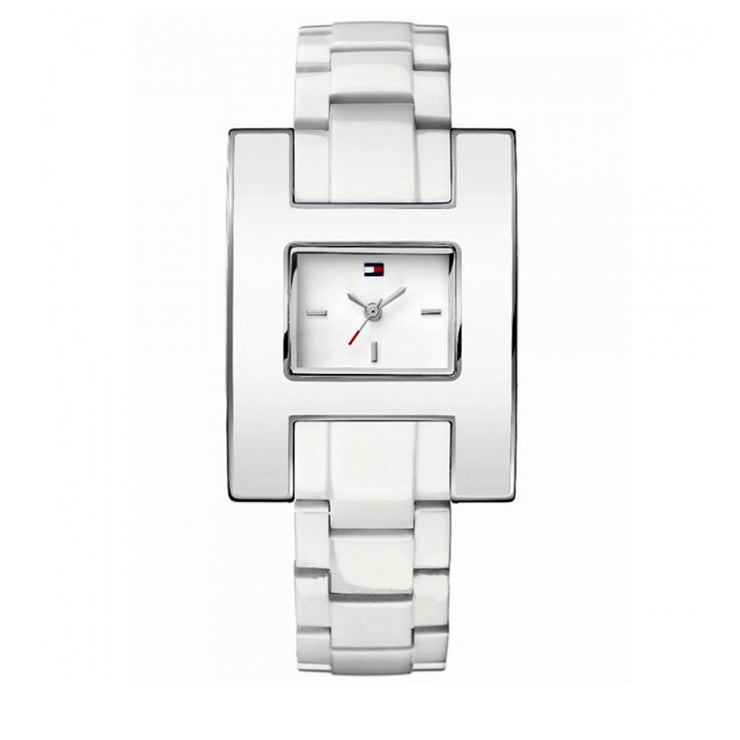 Tommy Hilfiger Watch 1781188- White Resin with Square White Dial Ladies Watch