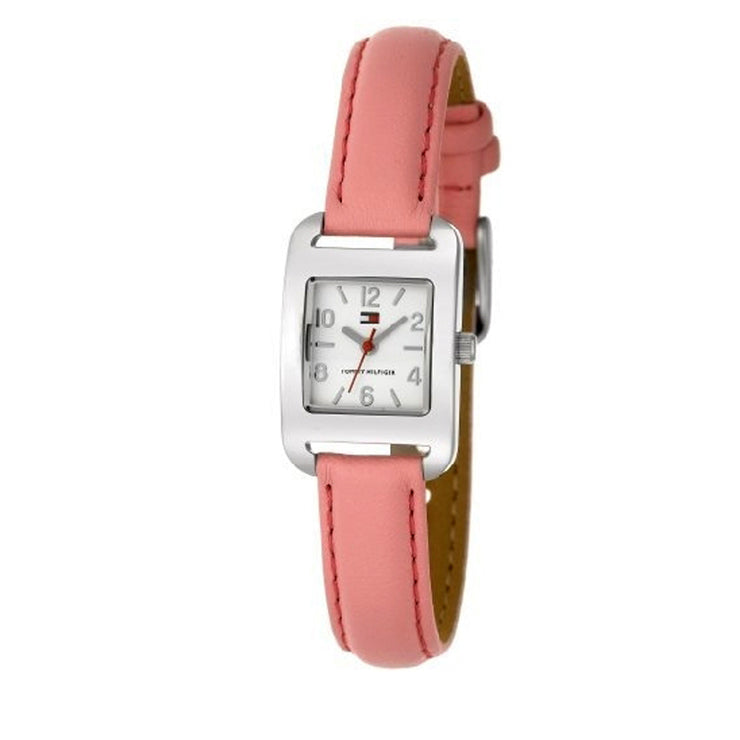 Tommy Hilfiger Watch 1780680- Pink Leather with Square White Dial Ladies Watch