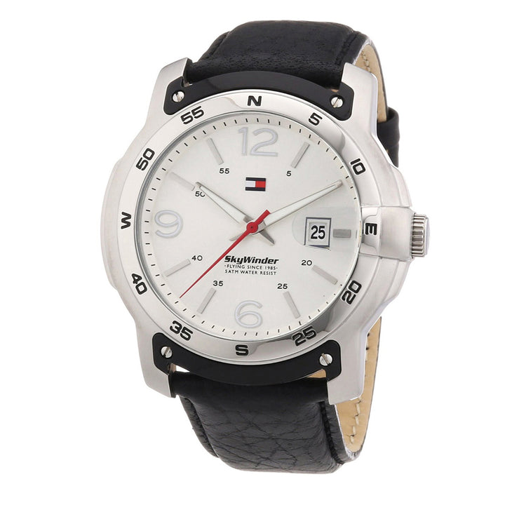 Tommy Hilfiger Watch 1790899- Black Leather with Round Silver Dial Men Watch
