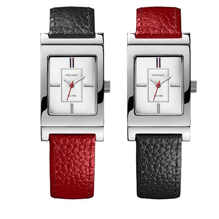 Tommy Hilfiger Watch 1781293- Reversible Red-Navy Leather with Rectangular Dial  Ladies Watch