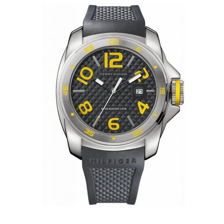 Tommy Hilfiger Watch 1790712- Grey Silicon with Round Grey Dial & Yellow Accents Men Watch