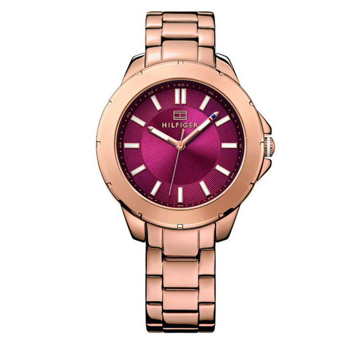 Tommy Hilfiger Watch 1781499- Rose Gold Stainless Steel with Round Merlot Dial Ladies Watch