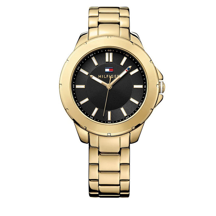 Tommy Hilfiger Watch 1781434- Gold Stainless Steel with Round Black Dial Ladies Watch