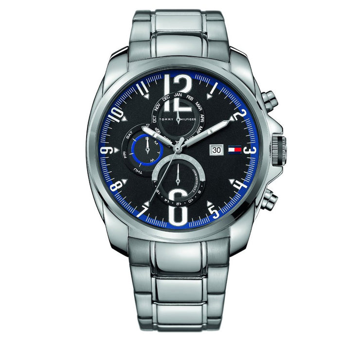Tommy Hilfiger Watch 1790831- Silver Stainless with Round Black Dial & Blue Accents Men Watch