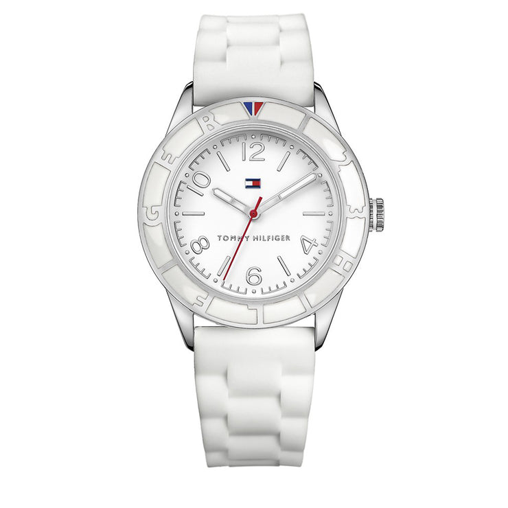 Tommy Hilfiger Watch 1781184- White Silicon with Round White Dial Ladies Watch