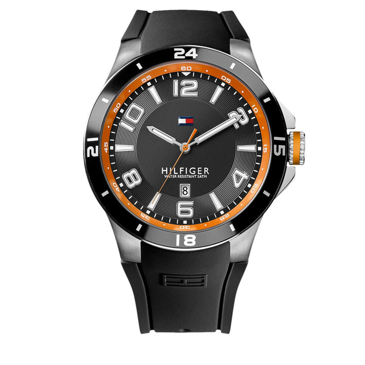 Tommy Hilfiger Watch 1790861- Black Silicon with Round Black Dial & Orange Accents Men Watch