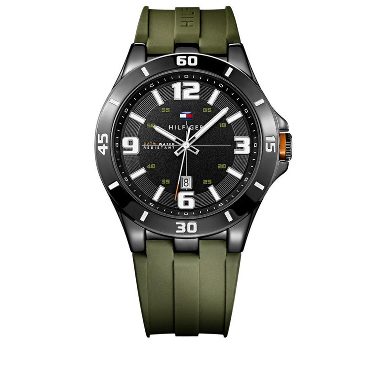 Tommy Hilfiger Watch 1791065- Green Silicon with Round Black Dial Men Watch