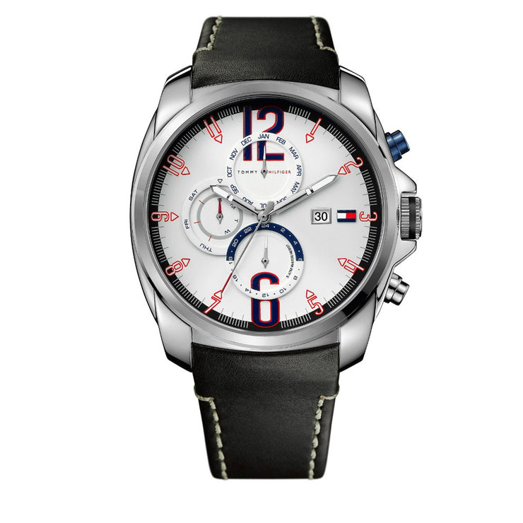 Tommy Hilfiger Watch 1790834- Brown Leather with Round White Dial Men Watch