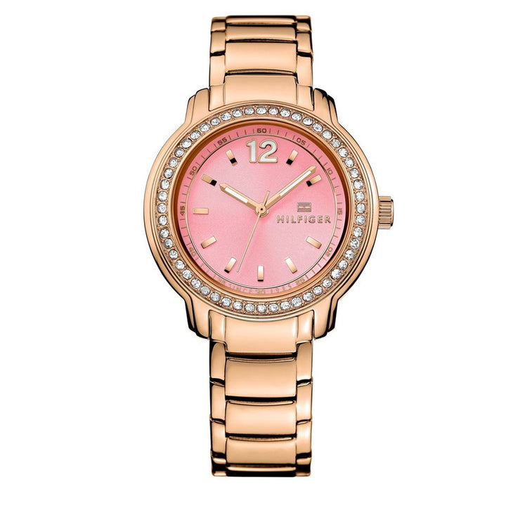Tommy Hilfiger Watch 1781560- Rose Gold Stainless Steel with Pink Round Dial & Crystal Bezel Ladies Watch