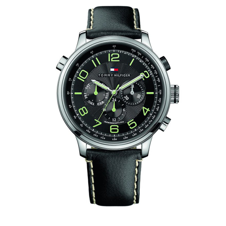 Tommy Hilfiger Watch 1790768- Black Leather with Black Round Dial Men Watch