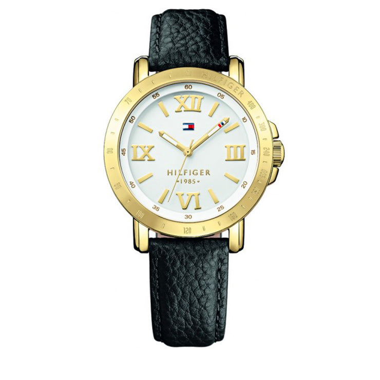 Tommy Hilfiger Watch 1781441- Black Leather with White Round Dial Ladies Watch