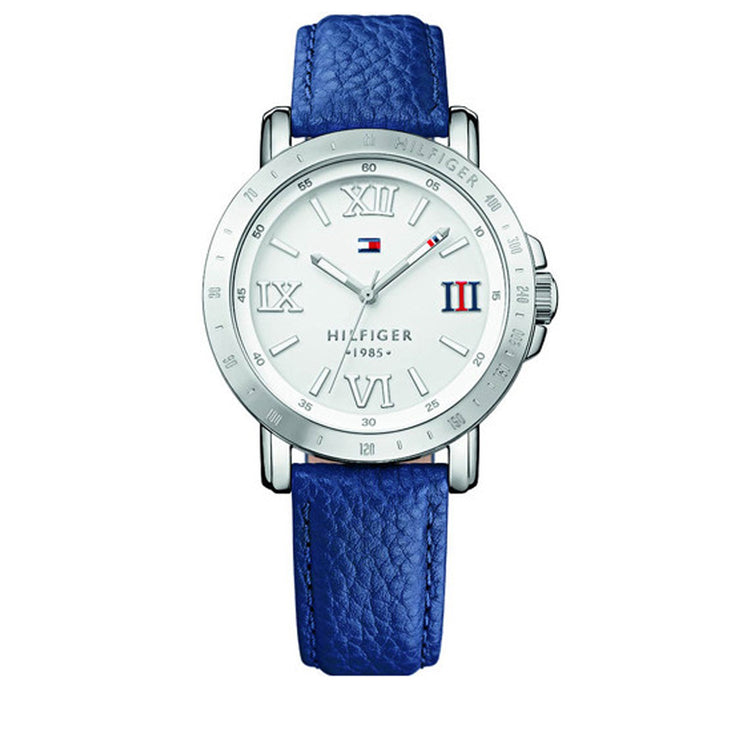 Tommy Hilfiger Watch 1781437- Blue Leather with White Round Dial Ladies Watch