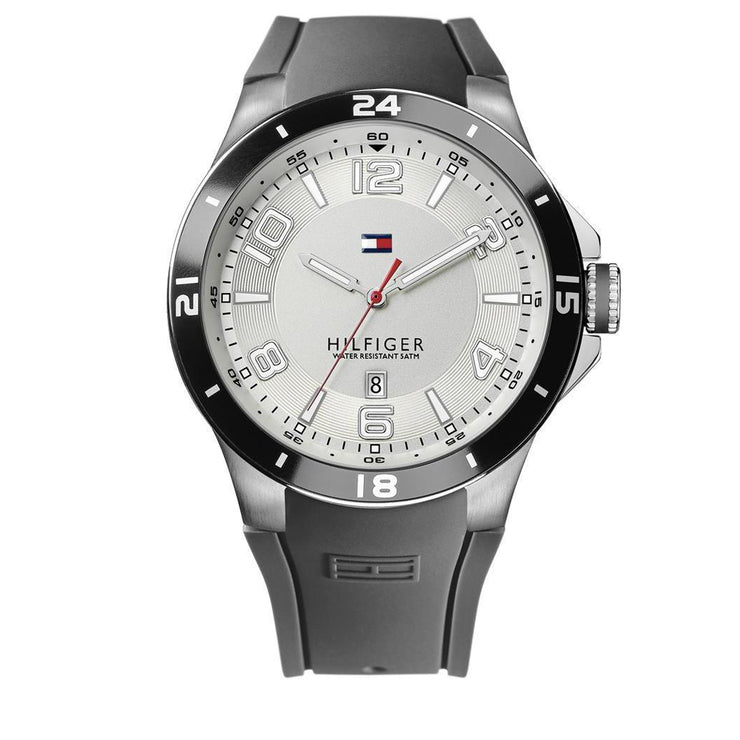Tommy Hilfiger Watch 1790863- Grey Silicon with White Round Dial Men Watch