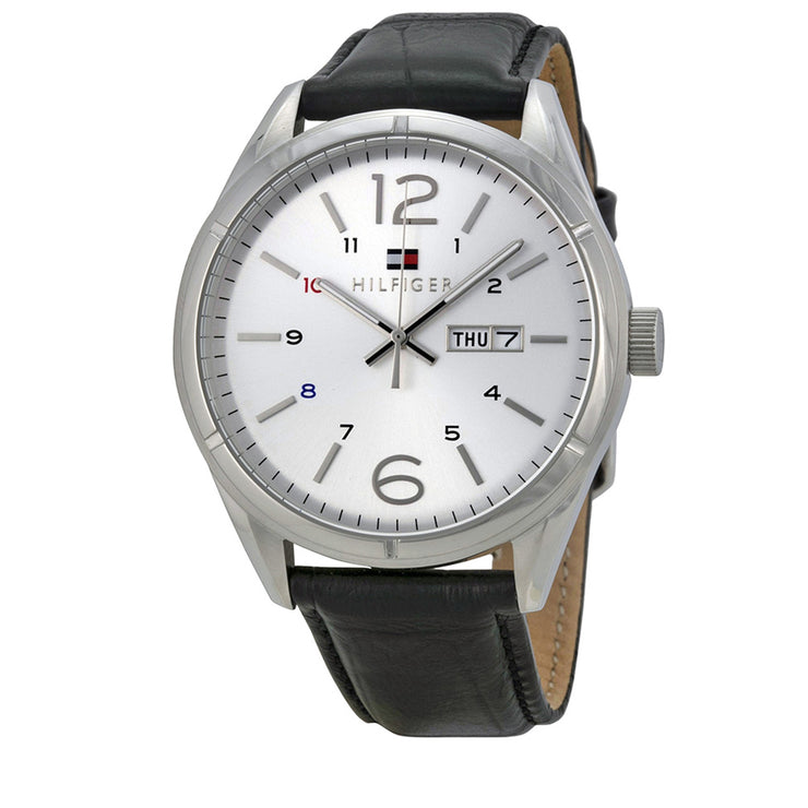 Tommy Hilfiger Watch 1791060- Black Leather with Silver Round Dial Men Watch