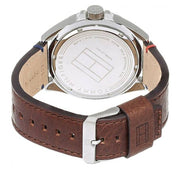 Tommy Hilfiger Watch 1791132- Brown Leather with White Round Dial Men Watch