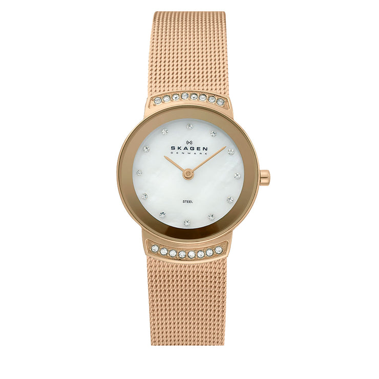 Rose Gold Mesh Strap Round Dial Watch with Crystal Accent