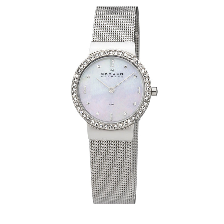 Silver Mesh Strap Round Dial Crystal Watch