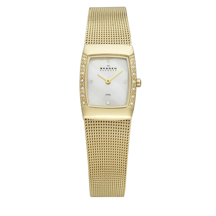 Skagen Gold Mesh Strap Square Dial Watch with Crystal Accent