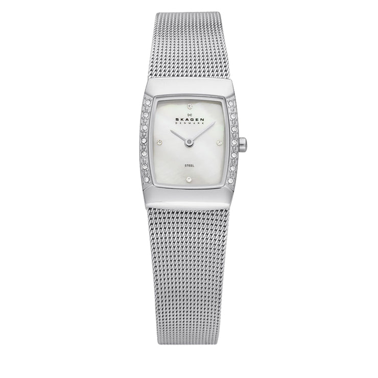 Skagen Silver Mesh Strap Square Dial Watch with Crystal Accent