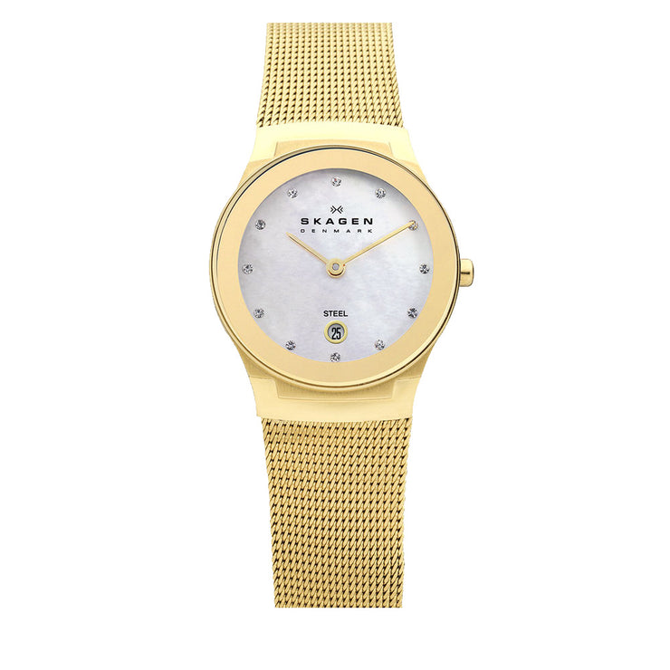 Skagen Women's Gold Mesh Strap Round Mirror Bezel Watch