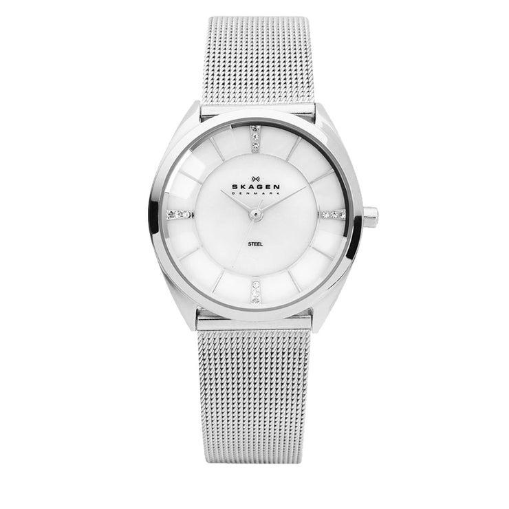 Skagen Women's Silver Mesh Strap with Round Faceted Crystal Face Watch