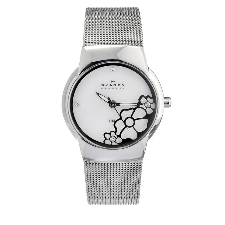Skagen Ladies' Silver Mesh Strap Watch with Flower Detail on Dial