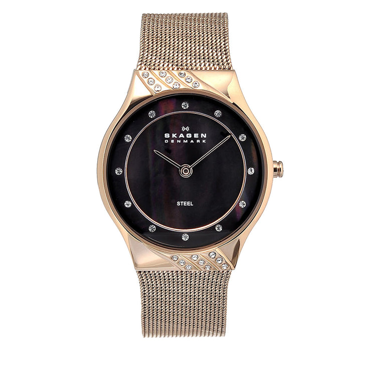 Skagen Women's Rose Gold Mesh Watch with Black Mother of Pearl Dial