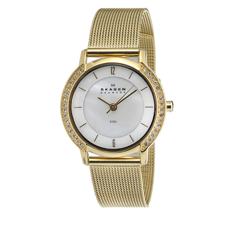 Skagen Women's Gold Mesh Strap Watch with Crystal Bezel & Mother of Pearl Dial