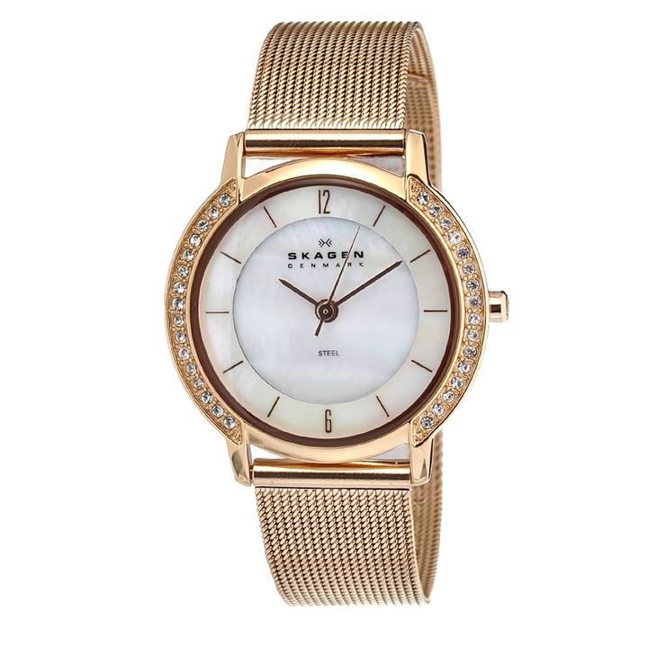 Skagen Women's Rose Gold Mesh Strap Watch with Crystal Bezel & Mother of Pearl Dial