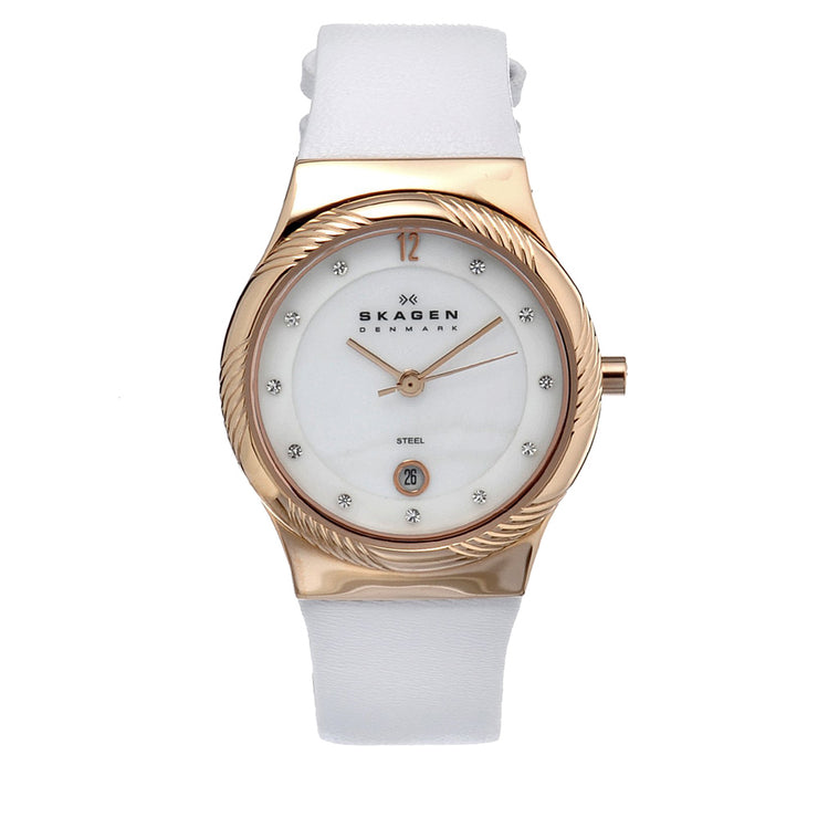 Skagen Women's White Leather Watch with Gold Bezel & Crystal Indices