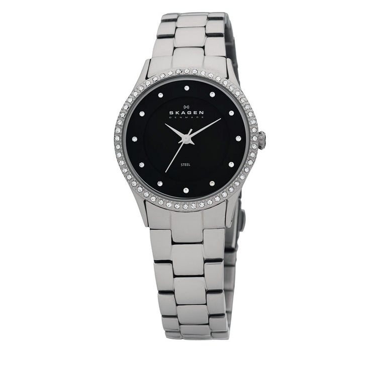 Skagen Women's Stainless Steel Watch with Black Dial & Crystal Bezel
