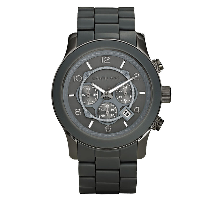 Men's Grey Large Runway Silicone Strap Round Dial Watch