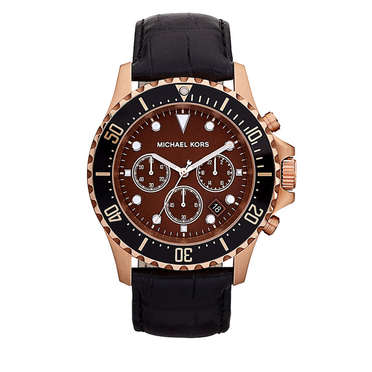 Michael Kors Everest Chronograph Black Leather Round Dial Watch