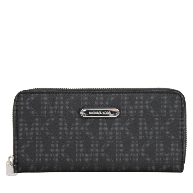 Michael Kors Jet Set Signature Zip Around  Continental Wallet- Black