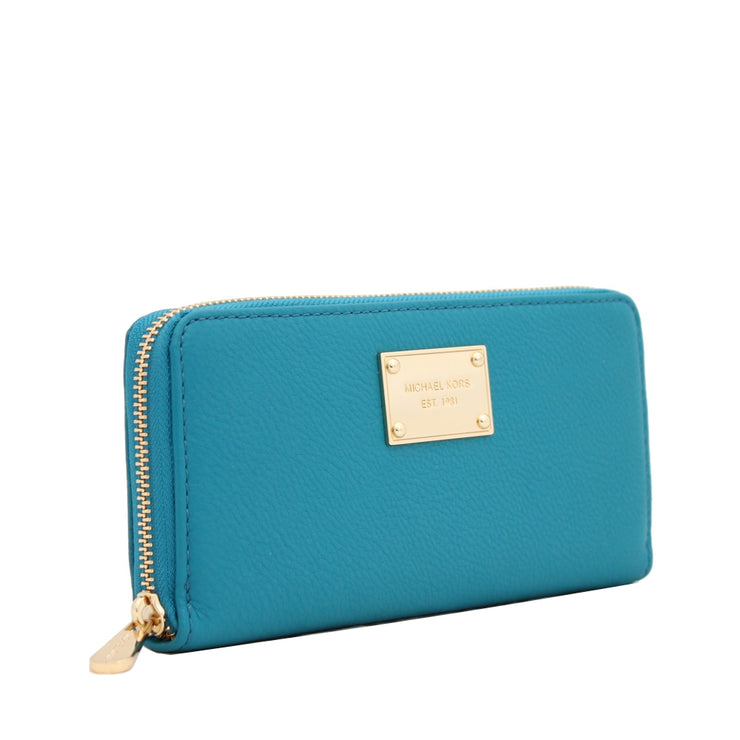 Michael Kors Jet Set Leather Zip Around Continental Wallet- Turquoise