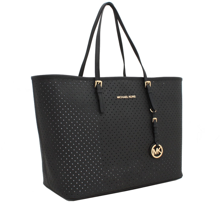 Michael Kors Jet Set Travel Grommeted Saffiano Leather Top-Zip Multi-Functional Medium Tote Bag- Damson